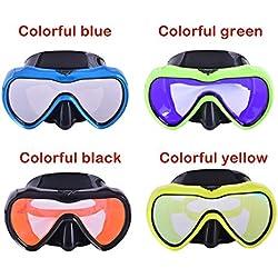 Plongée- Masque de Masque de plongée Professionnel pour Adulte Grand Miroir de plongée sous-Marine Anti-buée (Un Paquet) Wear Port Confortable (Color : Colorful Greeen)