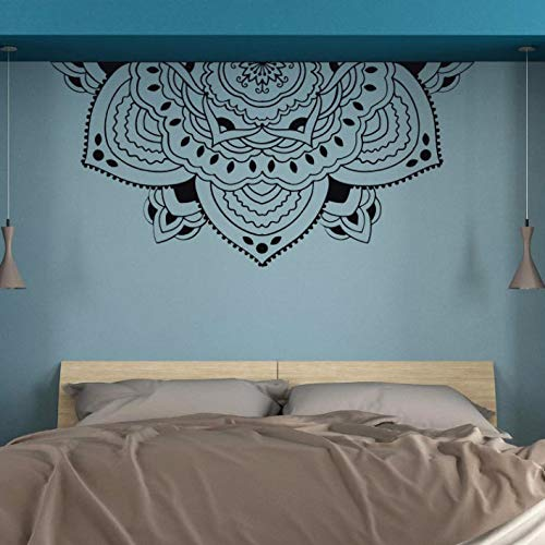woyaofal Meditation Half Mandala Wall Art Mural Half Mandala Headboard Vinyl Decals Half Mandala Flower Wall Sticker Bedroom Decor 87x42cm