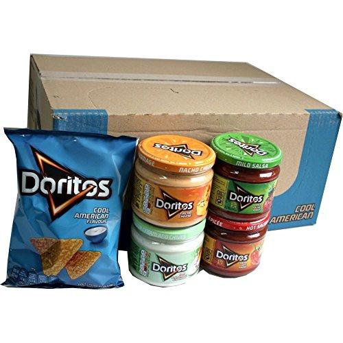 Doritos Nacho Chips Cool American 20 x 44g (Sauerrahm) & Doritos Nacho Dip Sauce Testpaket Nacho Cheese 300g , Mild Salsa 326g, Hot Salsa 326g, Cool Sour Cream and Chives 300g