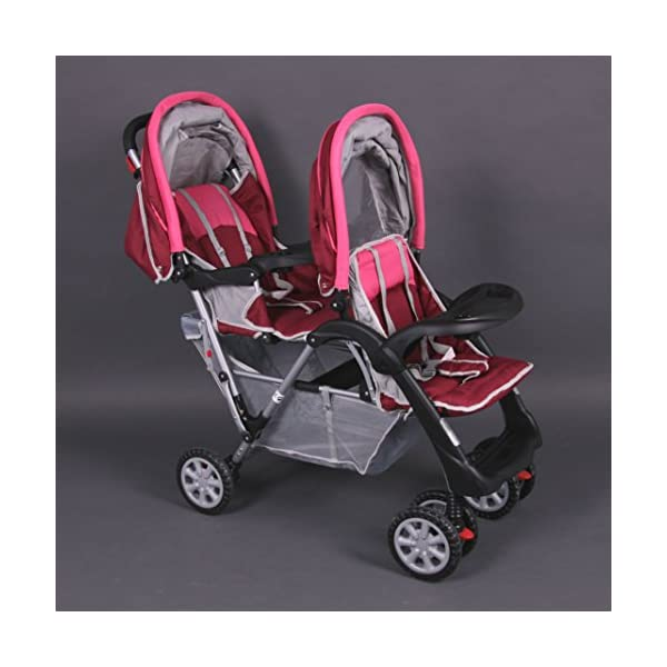 Exclusive Tandem - Twin Pram rose - BambinoWorld Bambino World You are purchasing a high quality and first class Tandem/ Twin Pram from Bambino World, with additional equipment and safety features, ideal for great day trips and every day use. Ideal pram for parents of twins or children with small difference in age. While your larger child explores the environment, your baby sleeps at fresh air. It is suitable from birth (rear seat) and 6 months (front seat) to about 3 years (15 kg). MAIN FEATURES: Easy folding (112 x 56 x 40 cm) ;Size open 110 x 54 x 120 cm ; weight 16,5 kg ;Height handle 107 cm, backrest 40 cm, seat depth 23 cm; wheel diameter 20 cm . EXCLUSIVE ADVANTAGES:Very compact and light frame ;All wheels with springing for a comfortable journey ;Front reflectors for your safety ;Lockable swivel front wheels ;Separate brakes on rear wheels ;Several position lie back adjustable seat :Back seat: sitting and lying position ,Front seat: sitting and resting position ;Seat guarantees good ventilation and comfortable seating ;5-point safety harness ; Age: Front seat: 6-36 months | Rear seat: 0-36 months 2