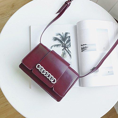 Weibliche Ketten Kleine Quadratisches Paket Mode Schulter Messenger Tasche Einfaches Paket Rot