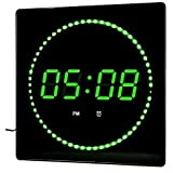 LED Reloj Verde Redonda Temperatura Despertador Pantalla fecha Montaje en la pared Reloj de estudio Reloj digital