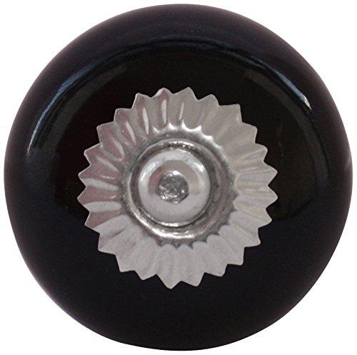 Möbelknopf, Keramik, rund, SBW230BX-Bonbon-schwarz (6 Stück)