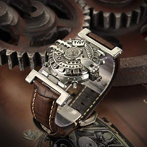 Gxianwengen Punky Personalidad Vapor Retro De Cuero Correa De Reloj De Cuarzo Reloj Masculino Relojes No Mecánicos