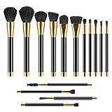 15 Stück Make Up Pinsel Set Professionelle Kosmetikpinsel mit Geschenkbox Pinselset kosmetik Kabuki für Berufsverfassungs oder Ausgangsgebrauch Makeup Pinsel Brush Set(Gold)