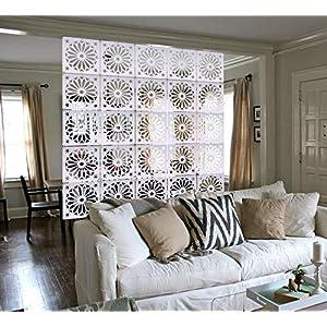 MYEUSSN Raumteiler Paravent Weiß Elegant DIY Paravents Raumtrenner Sichtschutz Umweltfreundlichem PVC Holz-Plastik…
