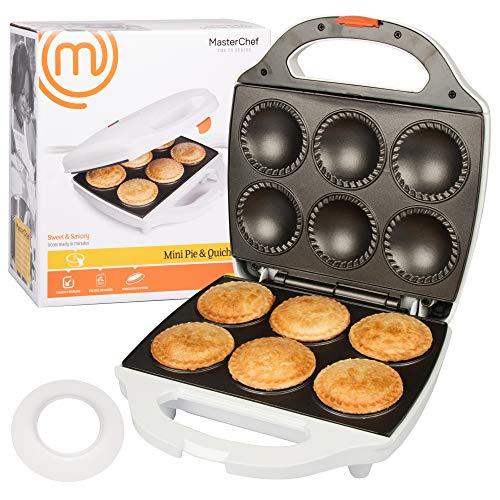 MasterChef Mini-Pie- und Quiche-Maker, 6 kleine Kuchen und Quiches in Minuten, Antihaft-Kocher mit Teigschneider für einfache Teigmessung 1 weiß Mini-quiche