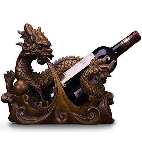 Betty & Co Top Qualität Harz 1 Weinflaschenhalter Stand Tischplatte Freistehende Weinregale für Lagerung und Anzeige, Office Home Bar Decor, Drachen, H 26 cm -