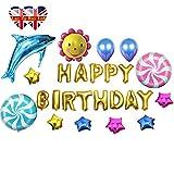 Kinder Bunte Geburtstagsluftballon Set- umfasst 26 verschiedene Stücke Mit Luftpumpe