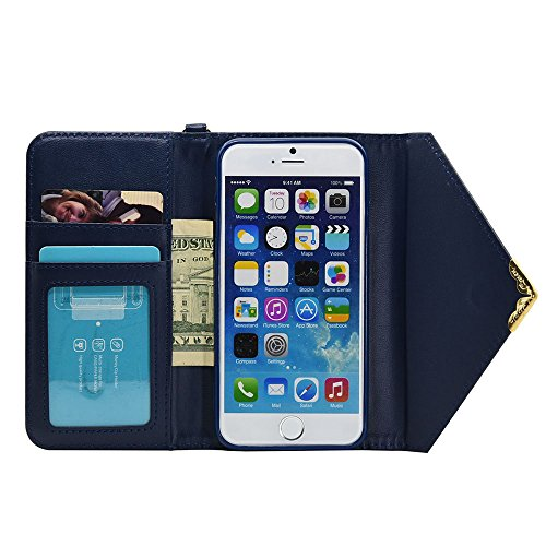 iPhone Case Cover Solid Color Case V-Stil Verschlussumschlag Muster PU-Leder Brieftasche mit Handschlaufe für IPhone 7 (4,7 Zoll) ( Color : Black , Size : IPhone 7 ) Blue