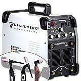 STAHLWERK AC/DC WIG 200 Plasma ST IGBT - Saldatrice combinata 200 Amp WIG + MMA con 50 Amp CUT Plasmaschneider, alluminio, bianco, 5 anni di garanzia