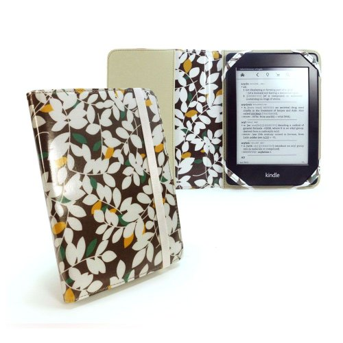 Tuff-Luv Slim Stoff Fashion Oil-Cloth Schutzhülle für 15,2 cm eReader - Braun Foliata Serie - Eink-cover Kindle