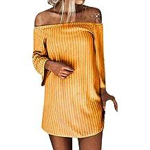 Vestido de Mujer otoño,❤ Absolute Mini Vestido de Manga Larga con Cuello en