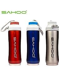 oxita (TM) SAHOO bicicleta bicicleta deportes doble capa aislamiento térmico al vacío de acero inoxidable ciclismo botella de agua 350ml azul/plata/rojo, plata