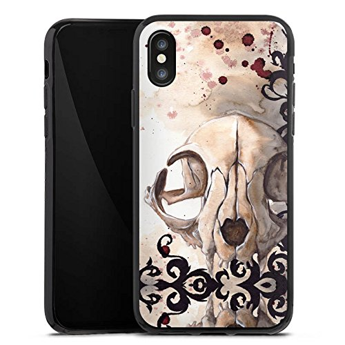 Apple iPhone X Silikon Hülle Case Schutzhülle Katzenschädel Totenkopf Katze Silikon Case schwarz