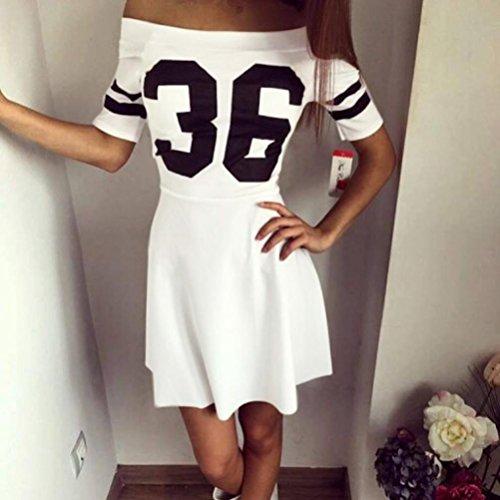 Kleid damen Kolylong Frau Sommer Baumwollmischung Boot Hals Minikleid Weiß