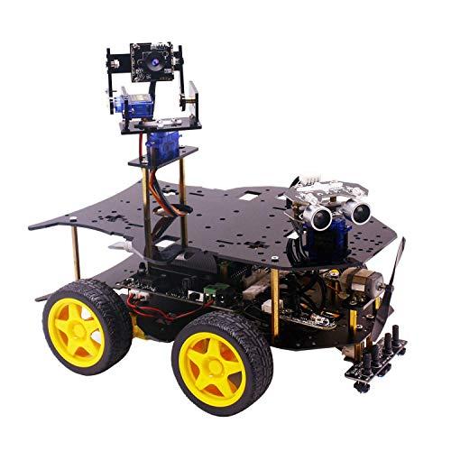 TOOGOO Roboter Kit für Raspberry Pi 4B / 3B + mit HD Kamera, Programmierbarer Smart Robotics Truck mit Allrad Antrieb (für Raspberry Pi Nicht Enthalten)