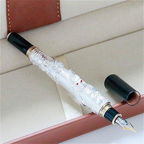 Lujo Jinhao dragón chino plata pluma estilográfica con punta mediana 18kgp pluma de regalo
