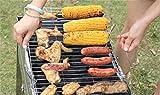 RoseFlower 47,5 x 27 cm, Griglia per Barbecue in Acciaio Inox, Cestello per Barbecue Grill-Wok, Vassoio per Verdure, Cestello per Pesce, Griglia per Salsicce Per Gli Uomini Regalo di Compleanno Papà