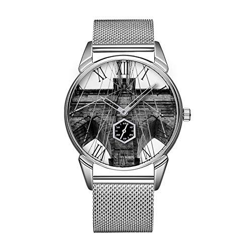 Mode wasserdicht Uhr minimalistischen Persönlichkeit Muster Uhr -671. Foto der Brooklyn Bridge in NYC