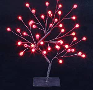 45cm Indoor Christmas Xmas Decoration Lights LED Globe Bonsai Tree Lamp New!! Choice Of Colours!! Red & White (Red)