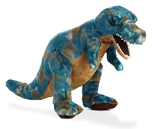 Animale di peluche Dinosauro T-Rex blu Predatore coccoloso della preistoria, Animale coccoloso ca. 43 cm insieme al burro per il corpo, 7 ml