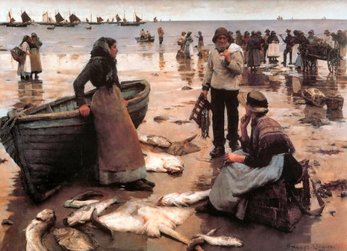 166-a-fish-sale-on-a-cornish-beach-1885-stanhope-alexander-forbes-famous-art-print-poster