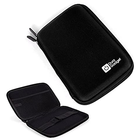 DURAGADGET Black Shell Hard EVA Cover Case with Dual Zips for Sylvania SDVD7027, 7-Inch Portable DVD Player with Car Bag/Kit, Swivel Screen, USB/SD Card Reader by DURAGADGET