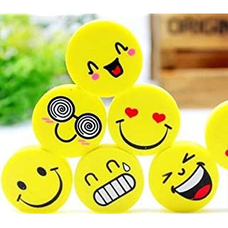 Accmart(TM) 12pcs Cute Round Shape Smiling Face Erasers Rubbers(Pattern Random)