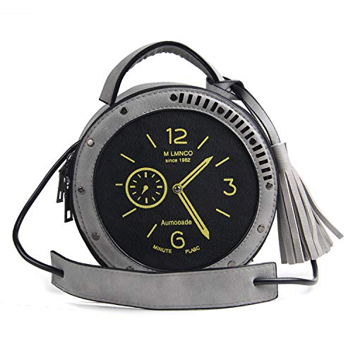 LUI SUI Damen Kreative PU Uhr Reißverschluss Quaste Handtasche Kleine Kette Clutch Crossbody Schultertasche, Grau (grau), Einheitsgröße