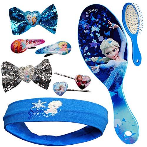 alles-meine.de GmbH Set _ Haarbürste + Haarschmuck - die Eiskönigin - Frozen - Kinderschmuck - für Mädchen / Kinder - Schmuck Haarschmuck - Haarband / Stirnband - Haargummi ()