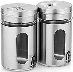Mosaic Salt & Pepper Shaker Spice Holder Condiment Set Set Of Two!!,Silver & Transparent,5 Cm,Steel & Glass