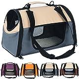 Woltu HT2071gr Trasportino Auto per Cani Box Borsa Gabbia per Animali Domestici Trasporto in Oxford Pieghevole Morbido per Viaggio Grigio 44x26x27,5cm