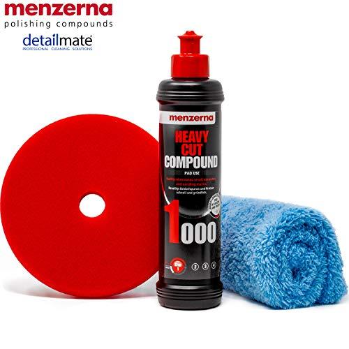 """detailmate Menzerna Auto Politur Set: 1000er Körnung, 250 ml mit passendem Polier Pad: + Heavy Cut Foam 150 mm / 6.0"""" + Flauschiges Mikrofaser Poliertuch 40x40 cm, 450 GSM"""
