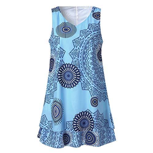 (Honestyi Womens Plus Size Print Midi Kleid Lose Shift Sleeveless Tank Weste Sun Dress J14B0963 Kurzärmliges Kleid mit Rundhalsausschnitt für Damen(Himmel Blau,XXXL))