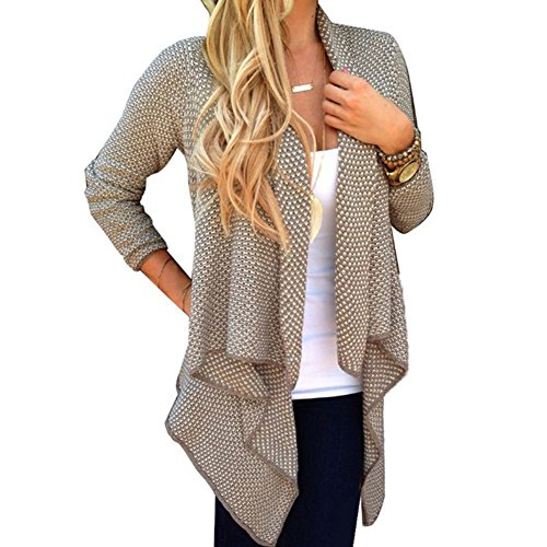 BOBORA Donna Knitted Maglione Maniche Lunghe Casual Cardigan Open Front Top Coat Outwear