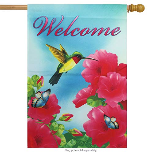 ASKYE Welcome Hummingbird Spring House Flag Decorative Garden Flag Banner for Party Outdoor Home Decor(Size: 28inch W X 40inch H) -