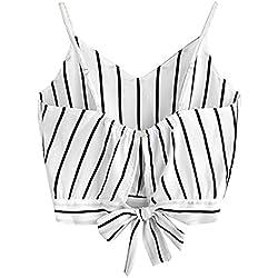 UMIPUBO Mujer Blusas para Mujer Camisola a Rayas sin Respaldo Estampado Transpirable Moda Cuello EN V Casual Camisola camise de Sexy Mujer Ropa Camiseta camise (S(Busto:80-88cm), Blanco)