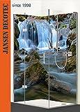 Eck - Duschrückwand, 2 Segmente, links 90x200cm, rechts 120x200cm, Motiv: Wasserfall