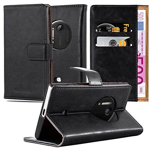 Preisvergleich Produktbild Cadorabo Hülle für Nokia Lumia 1020 - Hülle in Graphit SCHWARZ – Handyhülle im Luxury Design mit Kartenfach und Standfunktion - Case Cover Schutzhülle Etui Tasche Book