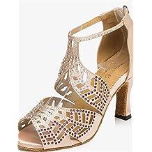 Moda moderna sandalias mujer personalizables Zapatos de Baile latino/Tap/moderno/Samba Polipiel Stiletto talón negro,Rosa,US6/EU36/UK4/CN36