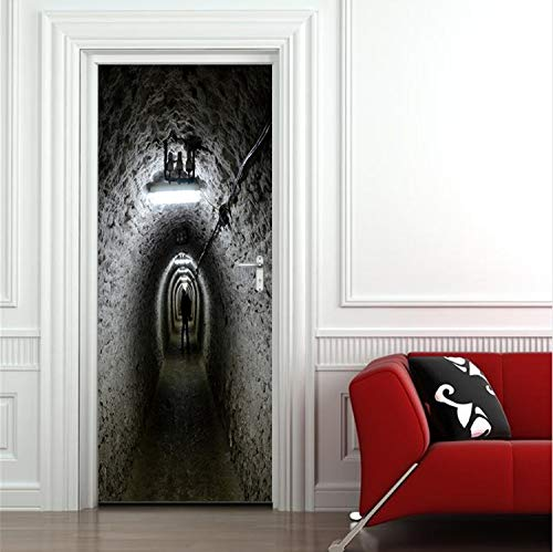 zoomingmingli Luftschutzbunker Türen Scary Horrible Halloween Decor Zimmertür Bad Aufkleber Abnehmbare Tür Aufkleber Boden Poster Vinyl Kunst