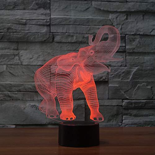 Kreatív elefánt lámpa 3D illúzió LED asztali lámpa 7 szín megváltoztatása érintő...