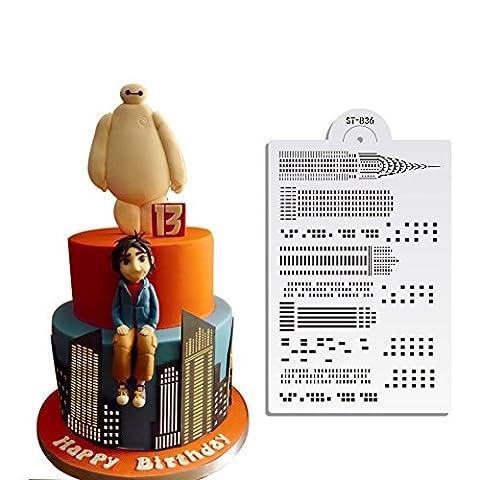 Skyscraper Gâteau de mariage Stencil Pochoirs muraux pour la peinture Modèle de pochoir en plastique Cake Mold Cake Décoration Outils Boulangerie ST-836