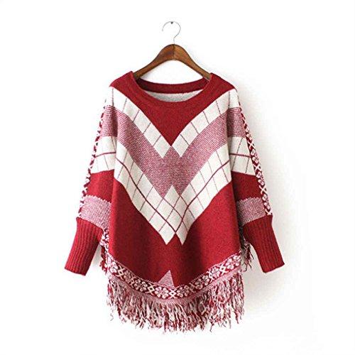 Maniche a pipistrello manica a pipistrello nappa pullover lavorato a maglia maglione mantello con collo a scialle o-collo manica lunga Minzhi vino rosso