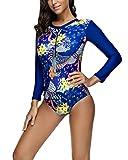 CHIC DIARY Maillot de Bain 1 Piece Manche Longue Femme Plonger Natation Bleu Marine Imprimé avec Zip Push Up Triangle Bikini Surf vêtements(Tag XXL-EU 42-44)...