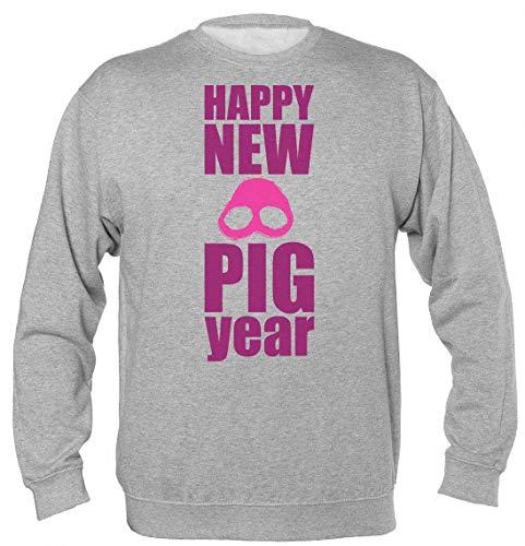 Finest Prints Happy New Pig Year 2019 Minimal Pig Design Unisex Sweatshirt Small
