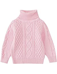 QinMM 1-6 años suéter Hecho Punto Cuello Alto del Invierno del bebé Jersey Sudadera Tops para niñas y niños