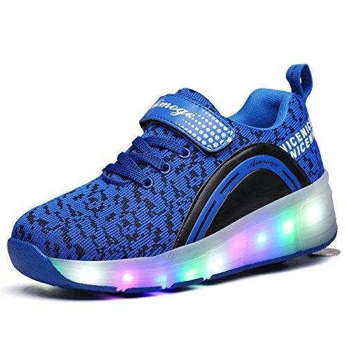 buy online 80fd6 bc940 Amazon Unisex-Kinder Mode LED Rollschuh Schuhe LED Lichter Blinken  Einstellbare Räder Technologie Skateboardschuhe Gymnastik Running  Turnschuhe für ...
