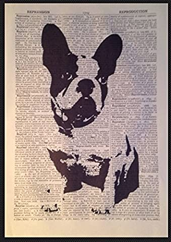 French Bulldog Print Vintage Dictionary Page Wall Art Picture Animal Dog Gift
